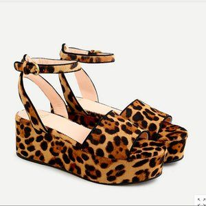 J. Crew Flatform sandals in leopard calf hair